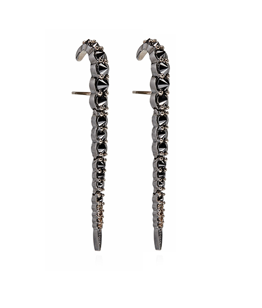 Ara Vartanian Black Brown Diamond Whip Earrings