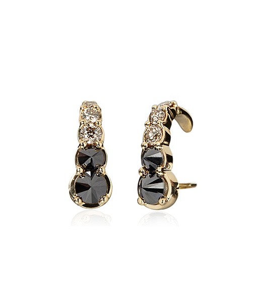 Ara Vartanian Black Brown Diamond Hook Earrings