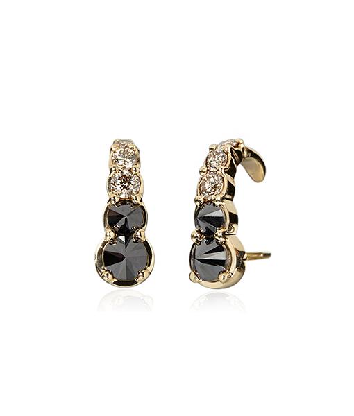 Ara Vartanian Black Brown Diamond Hook Earrings