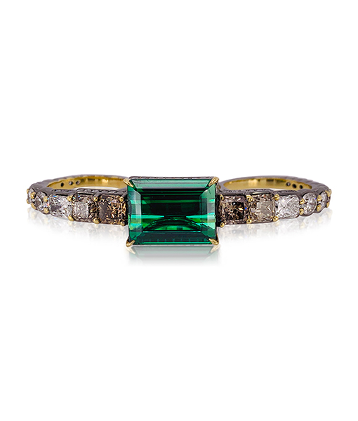 Ara Vartanian Green Tourmaline and Diamond Three-Finger Ring