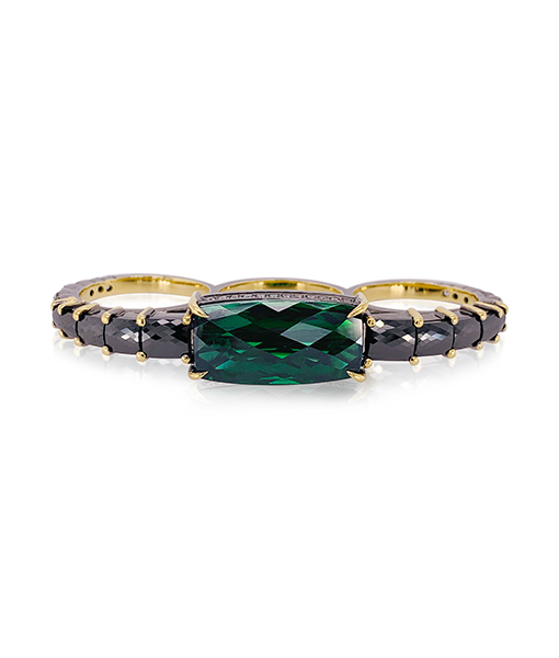 Ara Vartanian Three Finger Tourmaline Black Diamond Ring