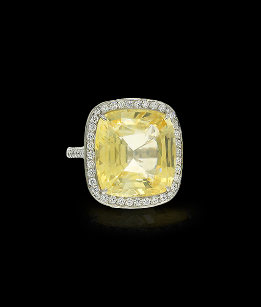 Bayco Yellow Sapphire and Diamond Ring