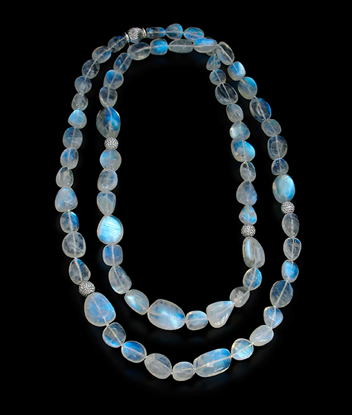 Cayen Moonstone Necklace Diamond Rondells.