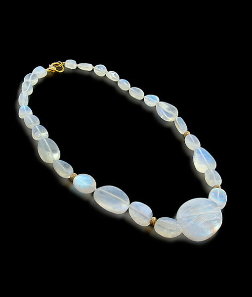 Cayen Collection Moonstone Necklace with Diamond rondells and Diamond Clasp
