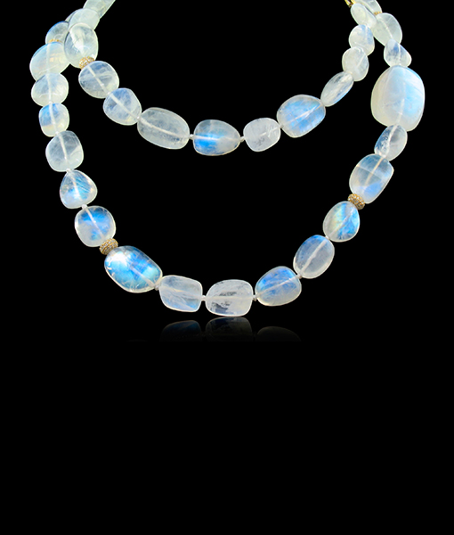 Cayen Collection Moonstone Necklace with Diamond rondells