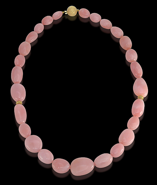 Cayen Collection Pink Opal Necklace Diamond Rondells Clasp