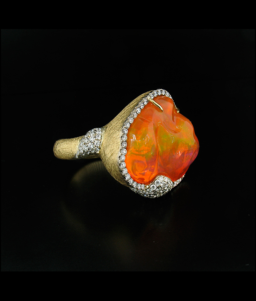 Cayen Collection Fire Opal and Diamond Ring SOLD!