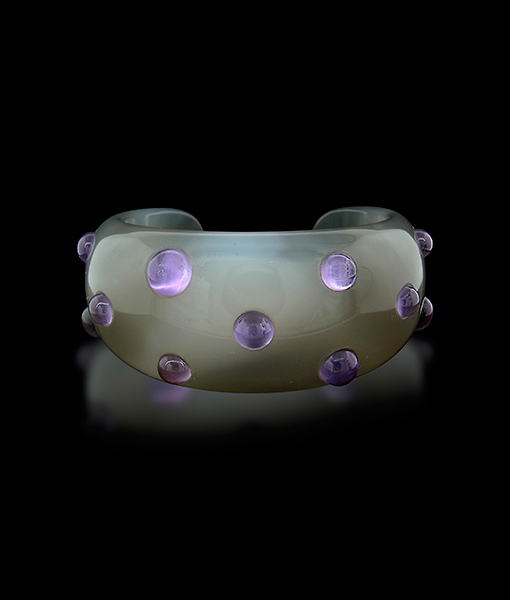 Amethyst and Carved Agate Cuff