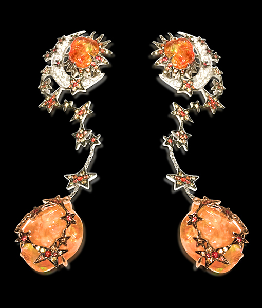 Lydia Courteille Fire Opal and Star Earrings
