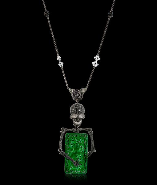 Lydia Courteille Skull Jade Necklace Tsavorite Diamonds