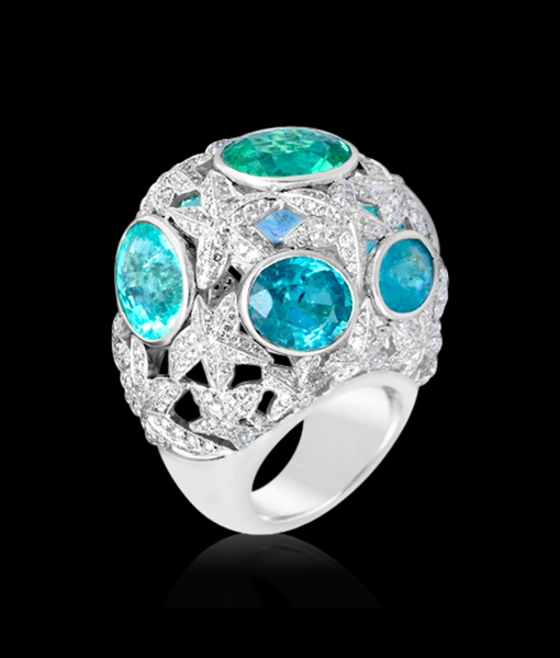 Lydia Courteille Paraiba and Diamond Dome Ring