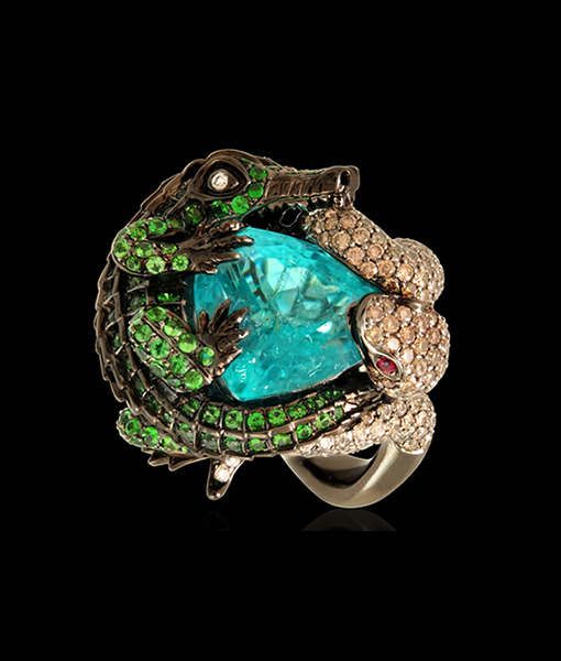 Lydia Courteille Paraiba Ring with Alligator and Snake