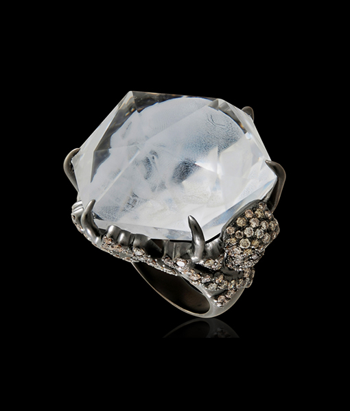 Lydia Courteille Crystal Skull Ring with Diamonds