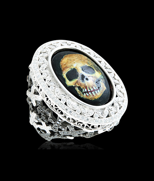 Lydia Courteille Enamel Skull Face Diamond Ring