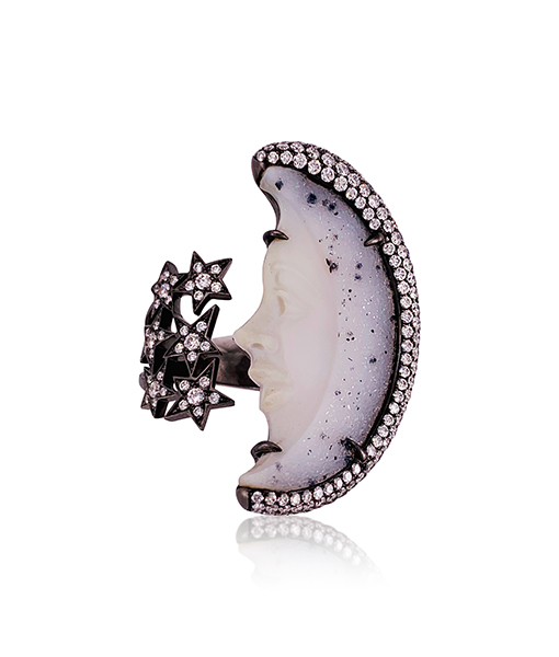 Lydia Courteille Moon and Stars Ring