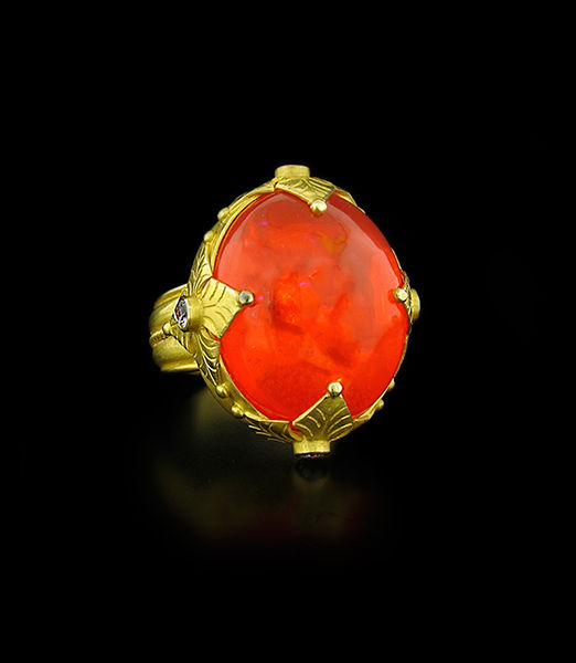 Carolyn Tyler Fire Opal and Diamond Maltese Ring
