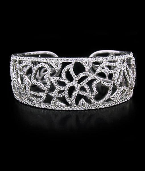 Pave Flower Bangle Bracelet