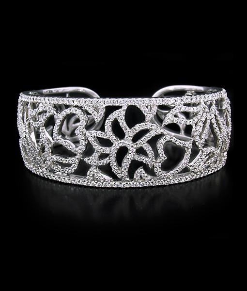 Pave Flower Bangle Bracelet