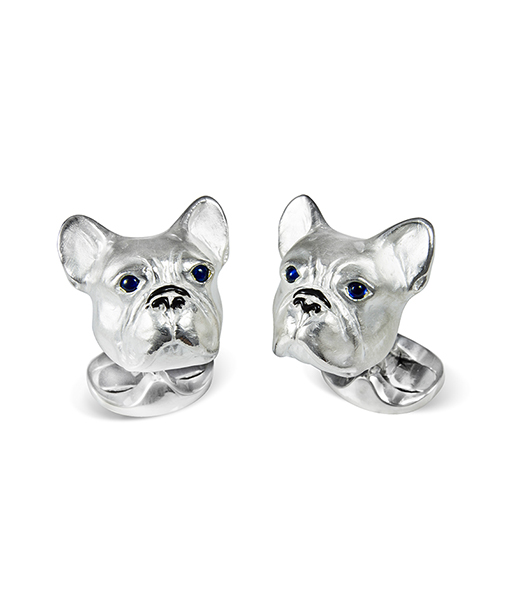 Deakin & Francis French Bulldog Cufflink with Blue Sapphire Eyes