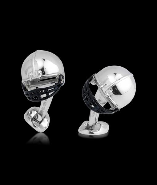 Deakin & Francis American Football Helmet Silver Enamel Small Dome oval sprl lnk Black