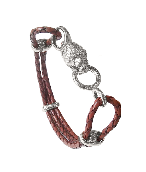 Deakin & Francis Leather Multi-Strand Bracelet with Lion Clasp