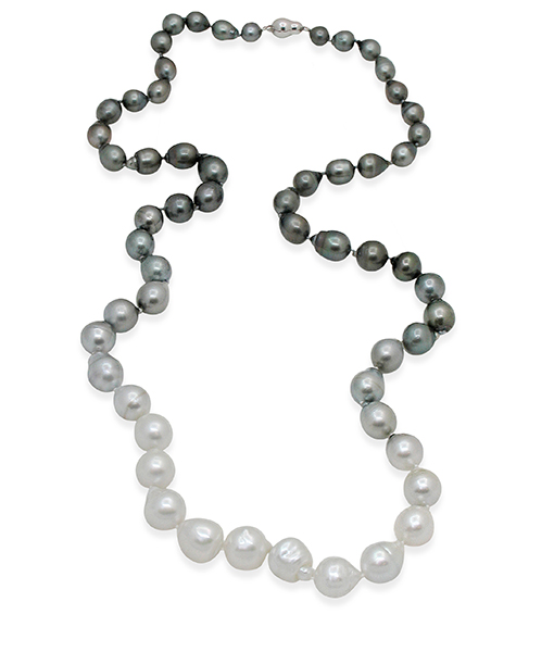 Boutique White Black Baroque Ombre Pearl Necklace