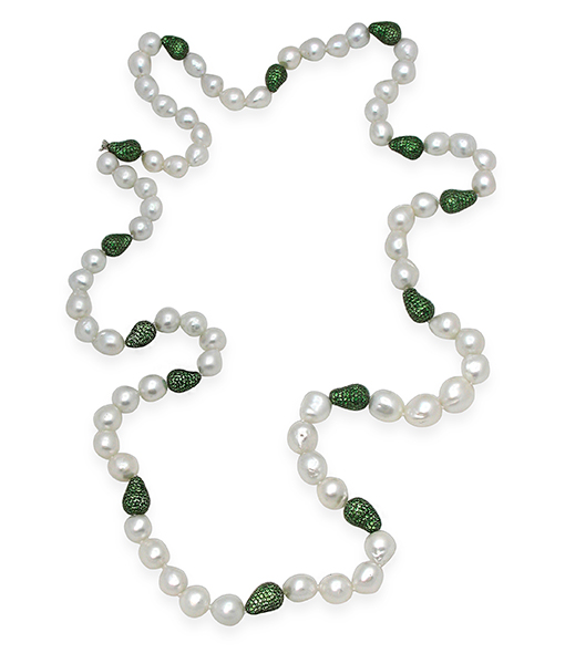 Boutique Opera St. South Sea Baroque Tsavorite Balls Necklace