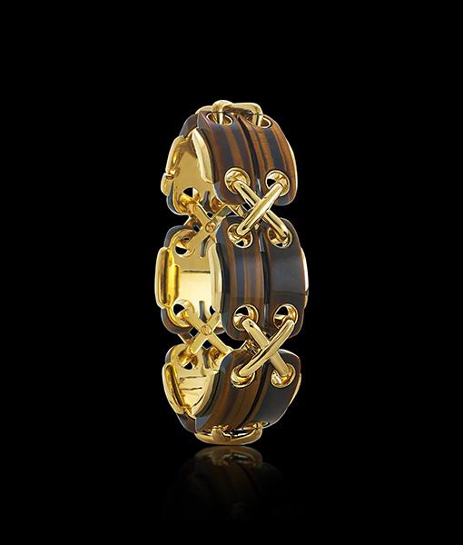 David Webb Cross Stitch Tiger Eye Bracelet