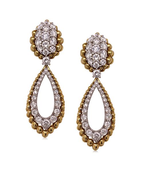 David Webb Brilliant-cut Platinum Earrings