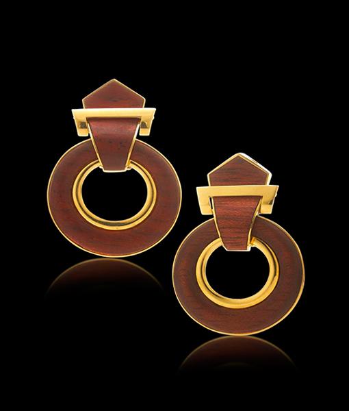 David Webb Woodworks Door-Knocker Earrings