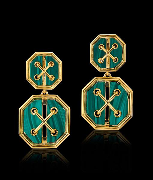 David Webb Cross Stitch Yellow Gold and Malachite Earrings