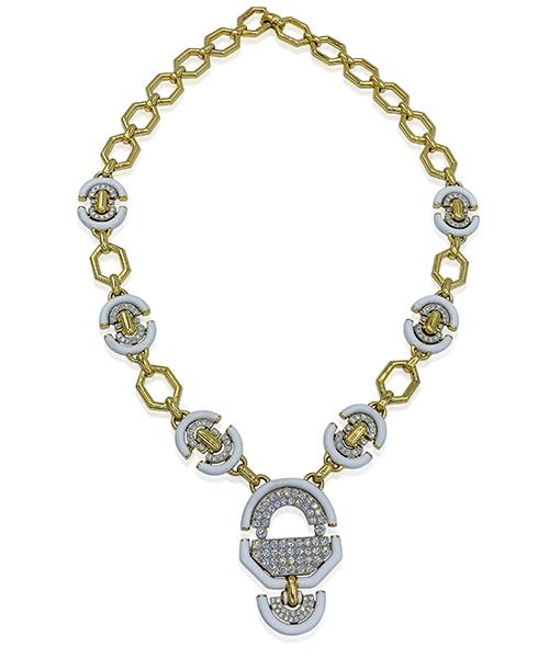 David Webb White Enamel and Diamond Necklace