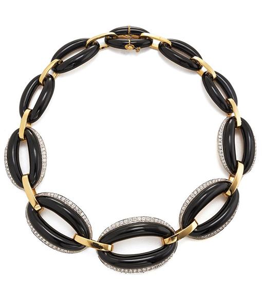 David Webb Black Enamel Diamond Necklace