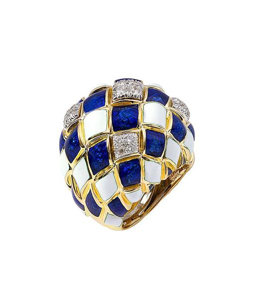 David Webb Blue White Enamel Ring Diamonds
