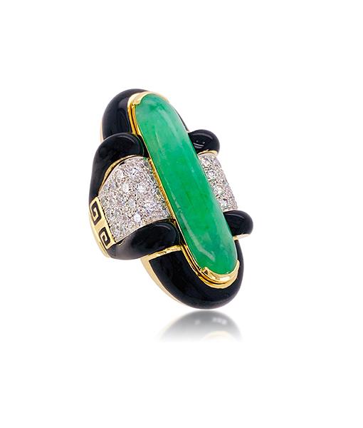 David Webb Cabochon Jade Diamond Ring Black Enamel