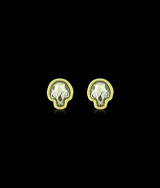 Erica Molinari Baby Skull Earrings with Diamond Eyes