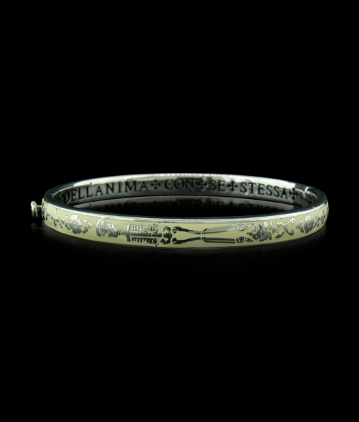 Erica Molinari Enamel Skull Bangle in Ivory. Thinking is the Soul Talking with Itself - Plato