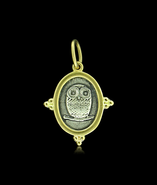 Erica Molinari Baby Owl and North Star Charm, Gold and Silver