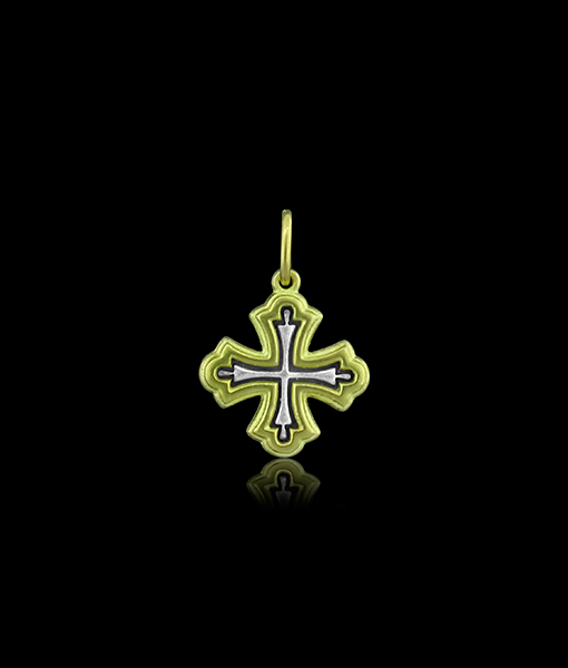 "Erica Molinari Baby Cross Charm ""Forget Me Not"""