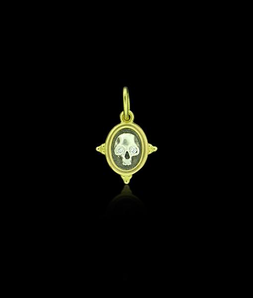 Erica Molinari Baby Skull and Flower with Diamond Eyes Pendant