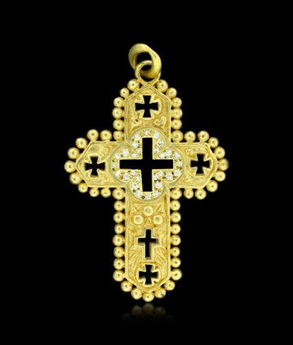 Erica Molinari Ornate Cross Quatrefoil Center and Diamond Pendant