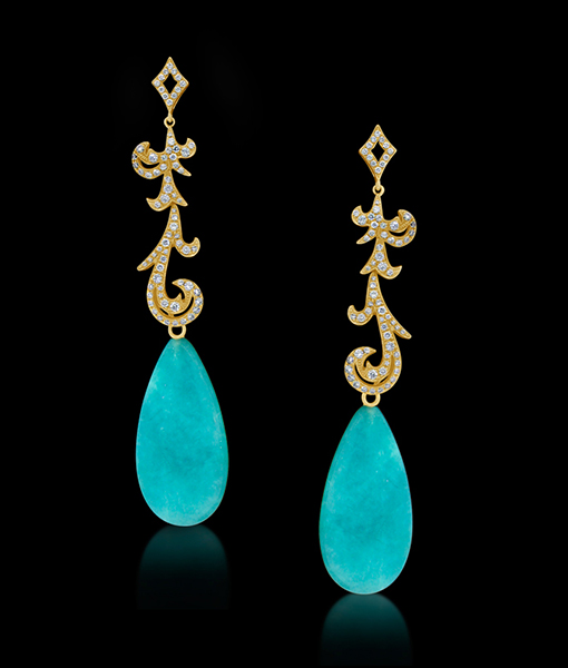 Long Diamond Earrings with 37.51 Carat Amazonite Drops