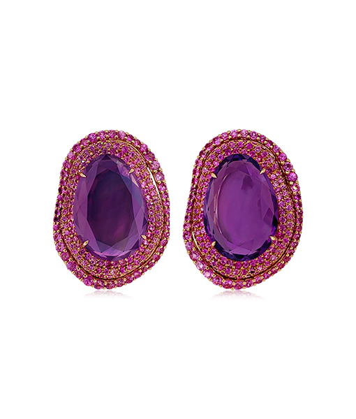 Etho Maria Amethyst and Pink Sapphire Earrings