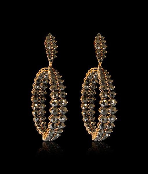 Etho Maria Black Diamond Hoop Earrings
