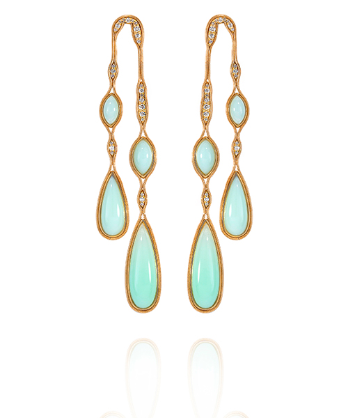 Fernando Jorge Chrysoprase Diamond Earrings