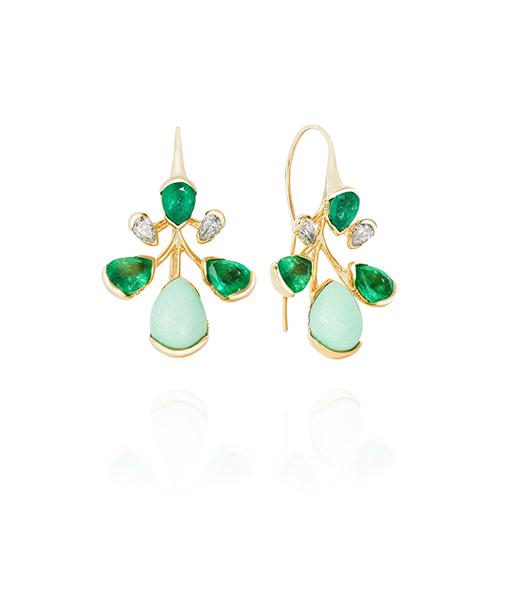 Fernando Jorge Corolla Emerald Chrysoprase Diamond Earrings