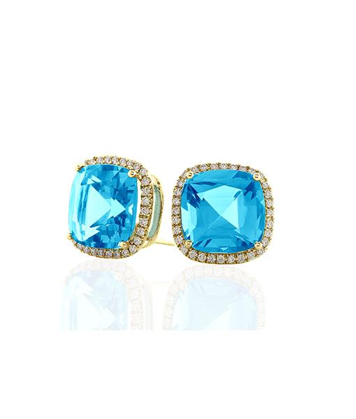 Goshwara Blue Topaz Diamond Earrings