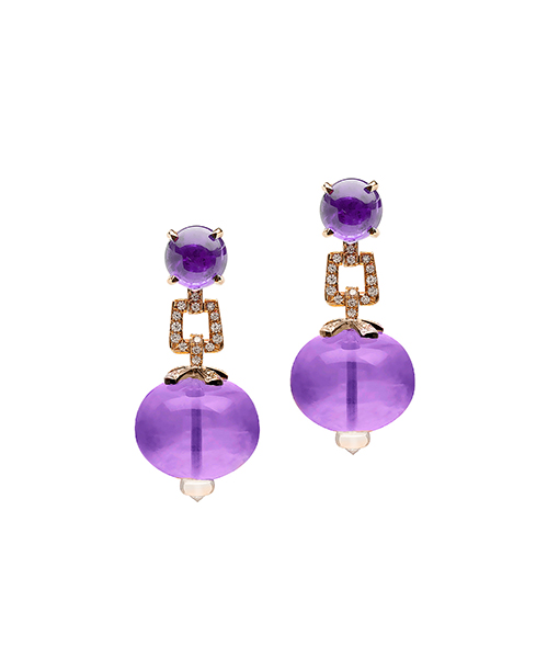 Goshwara Amethyst Bead Earrings Diamonds