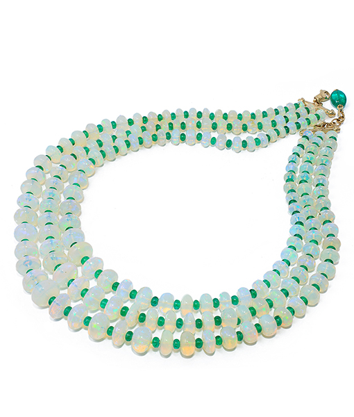 Goshwara Opal Emerald Bead Necklace