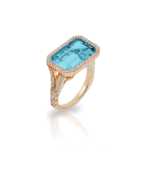Goshwara Blue Topaz Diamond Ring